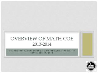 Overview of Math COE  2013-2014