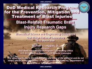 DoD Medical Research Program for the Prevention, Mitigation and Treatment of Blast Injuries