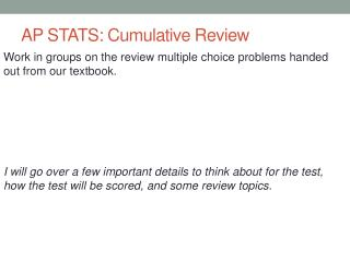 AP STATS: Cumulative Review