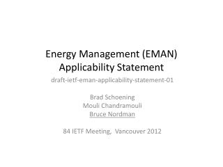 Energy Management (EMAN) Applicability Statement