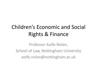 Children's Economic and Social Rights & Finance