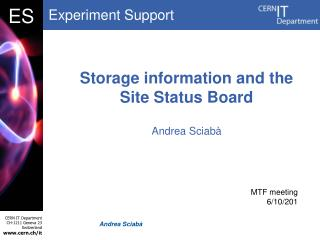 Storage information and the Site Status Board