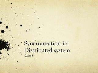 Syncronization  in Distributed system