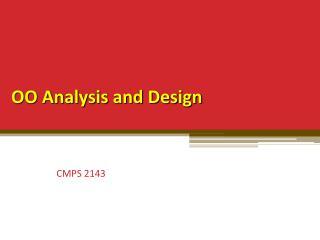 OO Analysis and Design