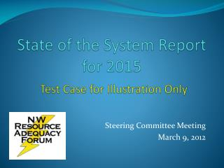 State of the System Report for 2015 Test Case for Illustration Only