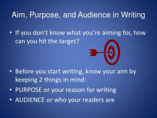 Aim, Purpose, and Audience in Writing