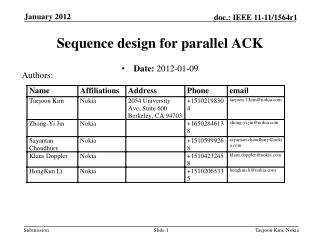Sequence design for parallel ACK