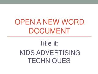 Open a new word document