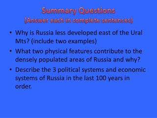 Summary Questions (Answer each  in complete  sentences)