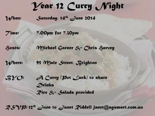 Year 12 Curry Night
