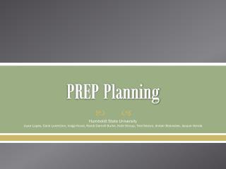 PREP Planning