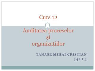 Curs 12 Auditarea proceselor și organizațiilor
