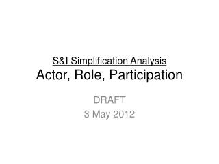 S&I Simplification Analysis Actor, Role, Participation