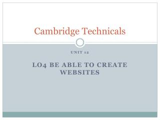 Cambridge  Technicals
