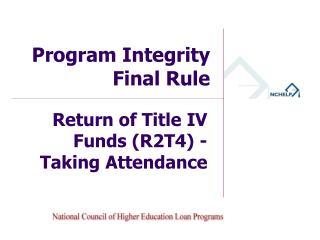 Program Integrity Final  Rule