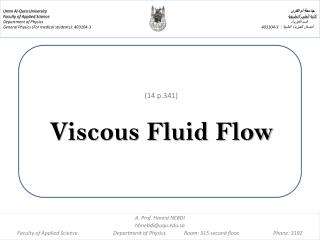 (14 p.341) Viscous Fluid Flow