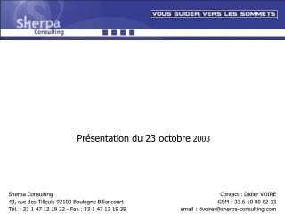 Pr sentation du 23 octobre 2003