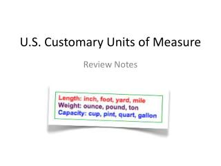 U.S. Customary Units of Measure