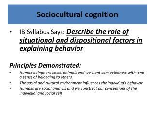 Sociocultural cognition