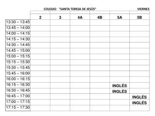 horarios 2013