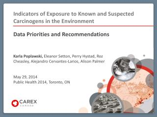 Indicators of Exposure to Known and Suspected Carcinogens in the Environment