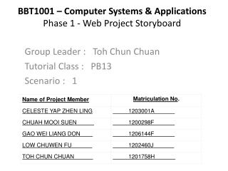 BBT1001 – Computer Systems & Applications Phase 1 - Web Project Storyboard