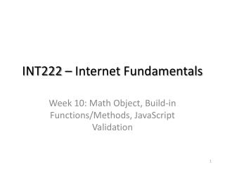 INT222 – Internet Fundamentals