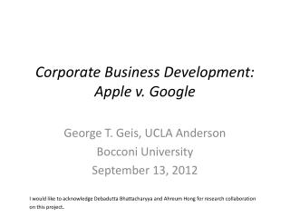 Corporate Business Development: Apple v. Google