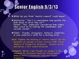 Senior English 9/3/13