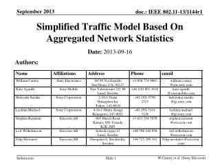 Simplified Traffic  M odel  B ased  O n  A ggregated  N etwork  S tatistics