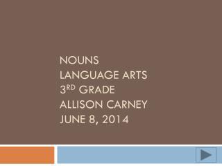 Nouns language arts 3 rd  grade Allison Carney June 8, 2014