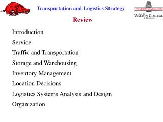 Introduction Service Traffic and Transportation Storage and Warehousing Inventory  Management