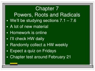 Chapter 7 Powers, Roots and Radicals