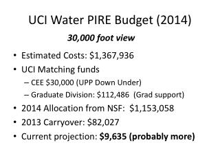 UCI Water PIRE Budget (2014)