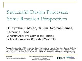 Successful Design Processes: Some Research Perspectives