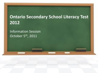 Ontario Secondary School Literacy Test 2012