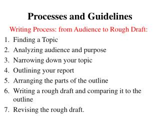 Processes and Guidelines