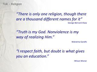 ToK  - Religion