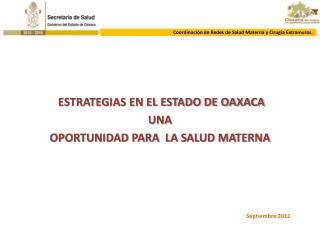 ESTRATEGIAS EN EL ESTADO DE OAXACA UNA OPORTUNIDAD PARA  LA SALUD MATERNA