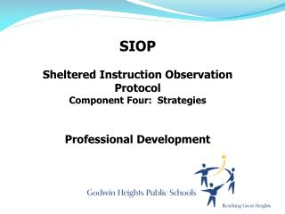 SIOP Sheltered Instruction Observation Protocol Component  Four:  Strategies