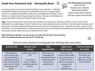 Grade Four Homework Task  - Sharing Me Boxes