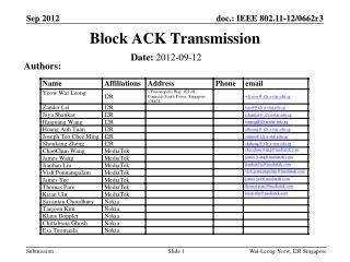 Block ACK Transmission