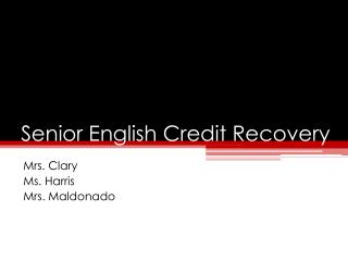 Senior English Credit Recovery