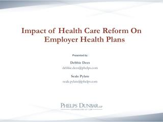 Impact of Health Care Reform On Employer Health Plans