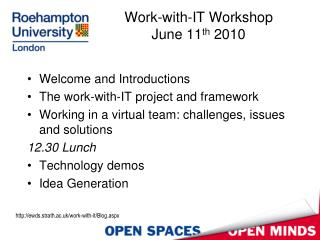 Work-with-IT Workshop June 11 th  2010