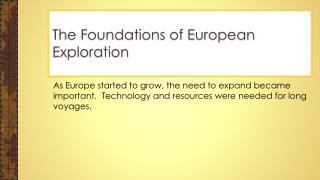 The Foundations of European Exploration