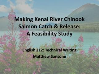 Making Kenai River Chinook Salmon Catch & Release: A Feasibility Study