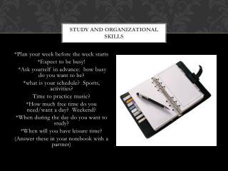 Study and Organizational Skills
