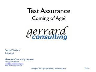 Susan Windsor Principal Gerrard Consulting Limited +44 (0) 7974 808604 susan@gerrardconsunting