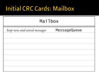 Initial CRC Cards: Mailbox